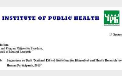 IPH Comments on ICMR Draft of Ethical Guidelines