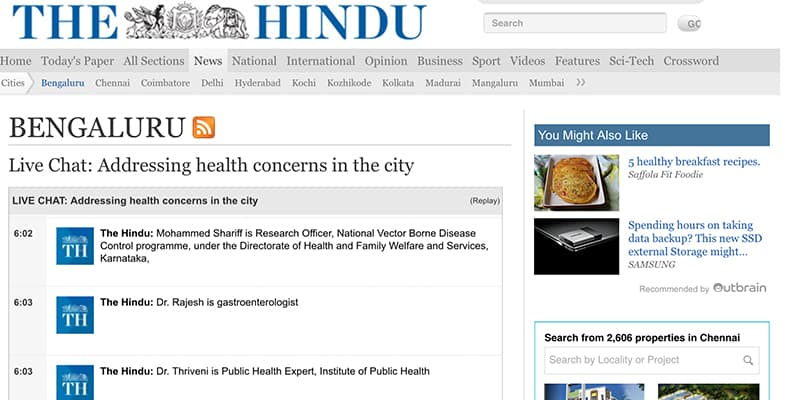 Live Chat: Addressing Health Concerns in the City