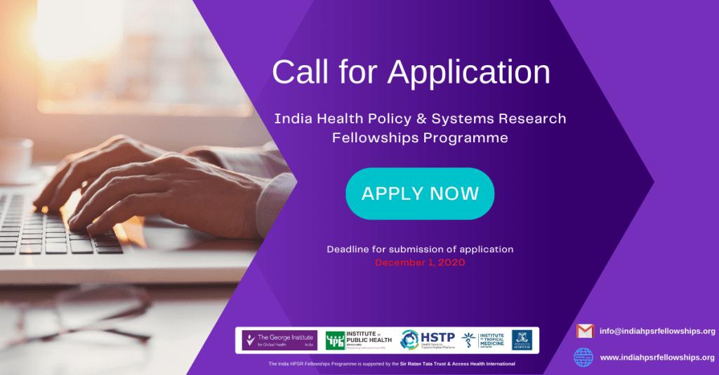 Call for Application India HPSR Fellowships Programme