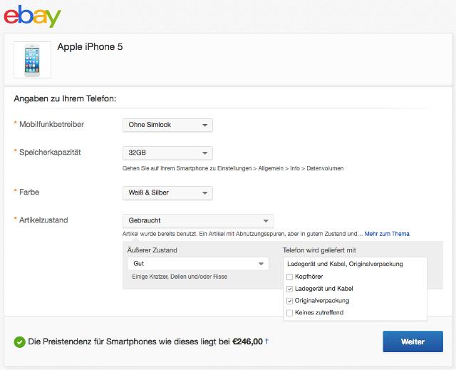 eBay Preisversprechen Smartphone verkaufen