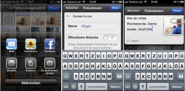 Fotostream geteilt iOS 6