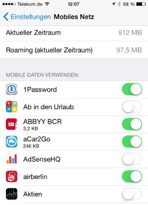 iOS 8 Mobiles Netz