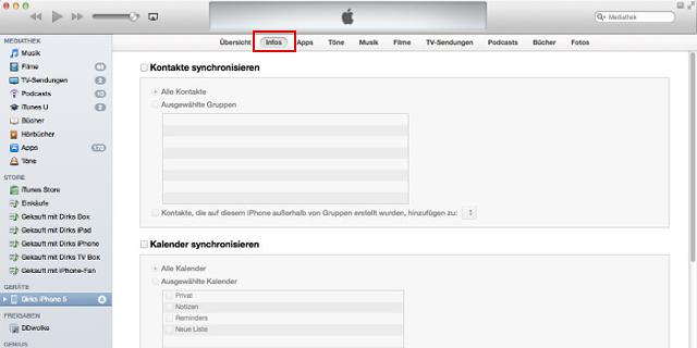 Die Rubrik Info für den lokalen Datenabgleich mit dem iPhone fehlt jetzt.