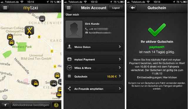 Gutscheine hinterlegen und bargeldlos in der MyTaxi-App bezahlen