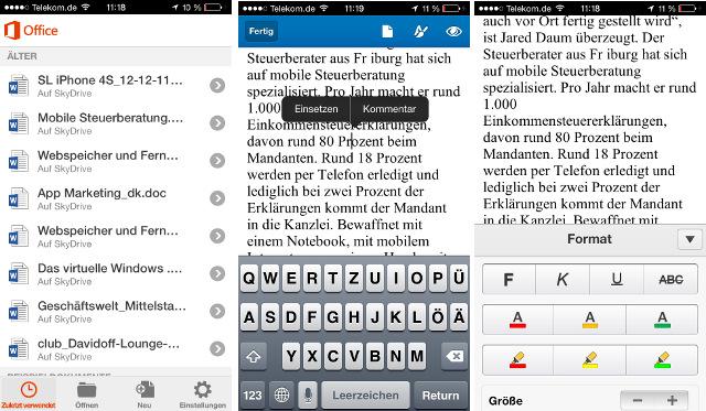 Texte in Word auf dem iPhone bearbeiten