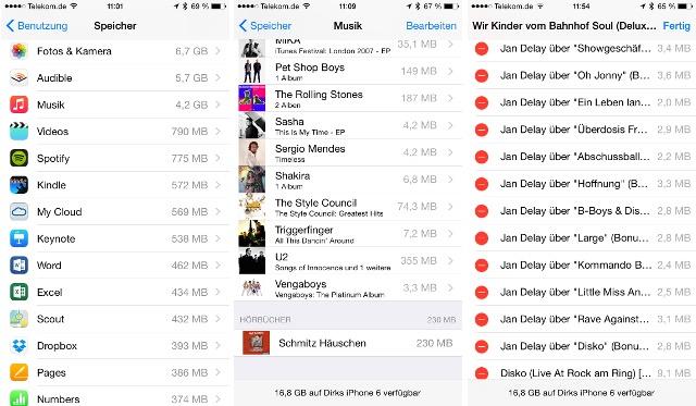 Lieder vom iPhone löschen