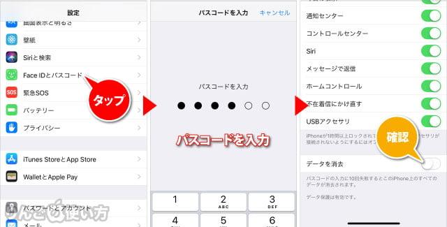 iPhone・iPadでパスコードを間違えすぎてもデータ消去させない方法