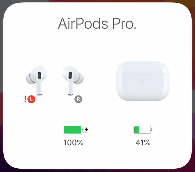 airpods red exclamation mark