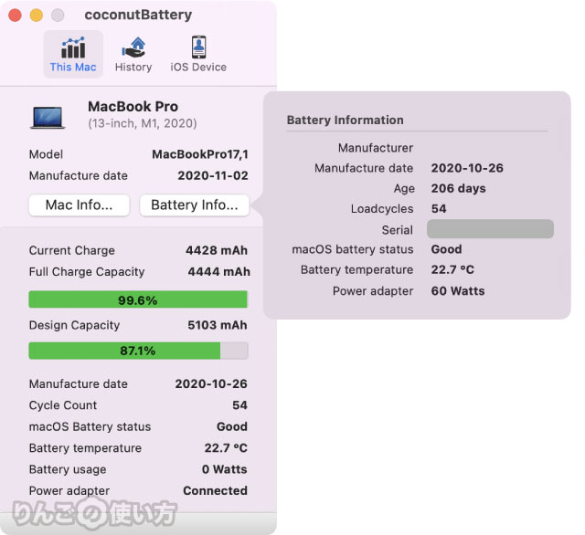 MacBookのバッテリーの状態をチェックする方法。「CoconutBattery」を使う場合