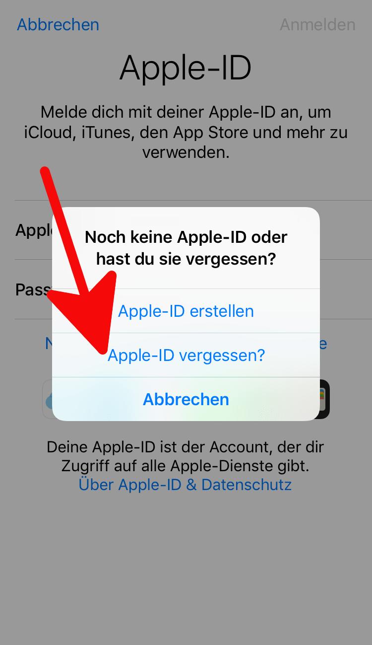 Apple ID vergessen - ID, Passwort oder Kennwort vergessen