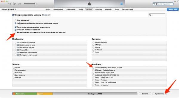 Festlegen der Synchronisation einzelner Audiodateien mit iTunes