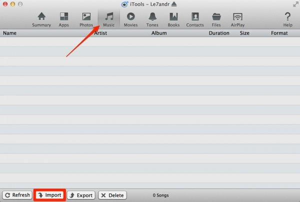 Importieren Sie Audiodateien in iPad durch ITools