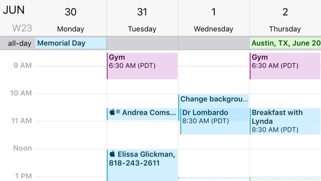 iPhone Calendar, sideways orientation