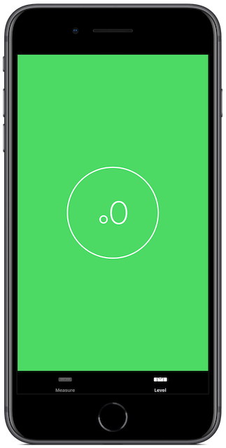 iPhone Level app, iPhone laying flat on a level surface
