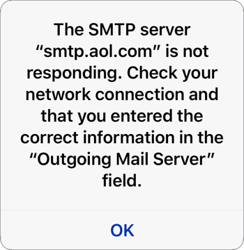 The SMTP Server is not responding