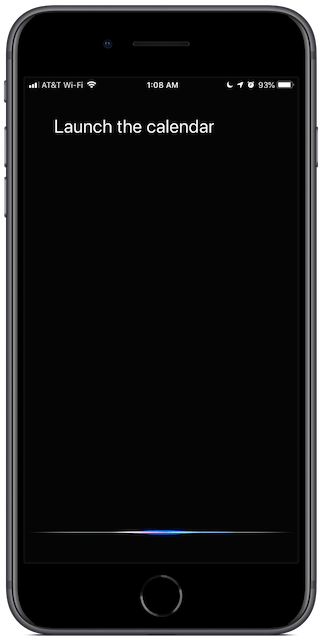 Screenshot: ask Siri to launch the calendar