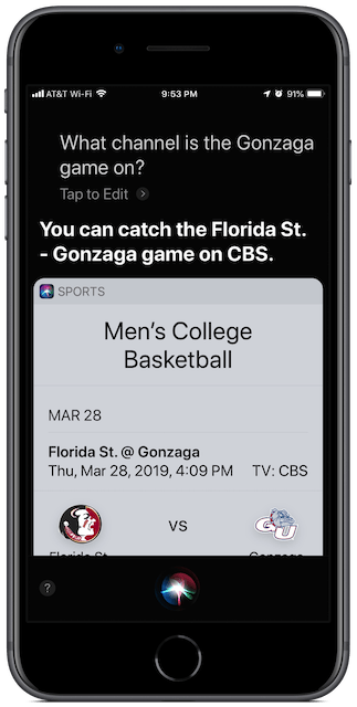 Ask Siri about which TV channel the game starts.