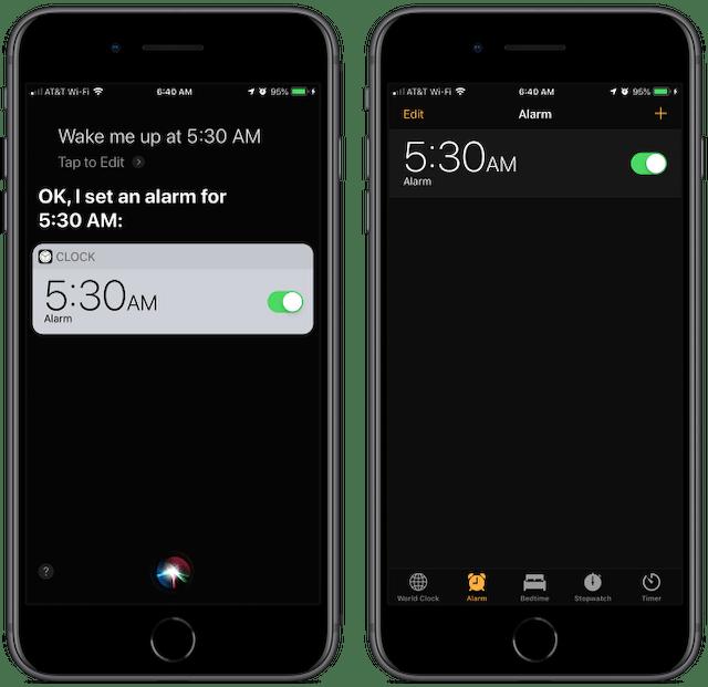 Screenshot: Siri, wake me up at 5:30 am