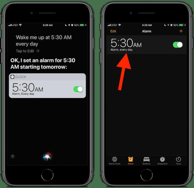 Screenshot: Siri, wake me up at 5:30 am every day.