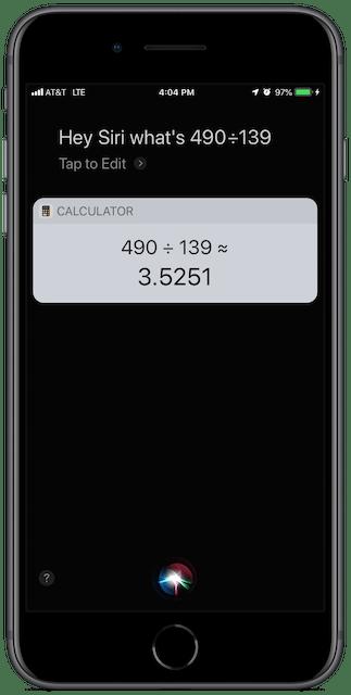 Screenshot: Siri doing math