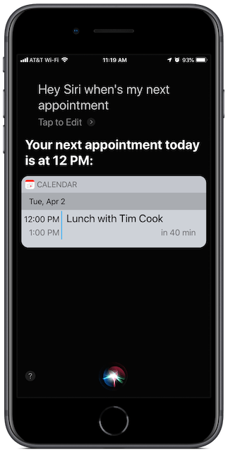 Screenshot: Hey Siri, when's my next appointment?