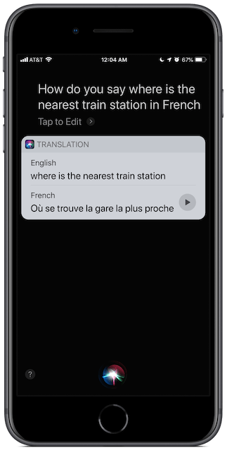 "iPhone Siri screenshot: how do you say ""where is the nearest train station"" in French"