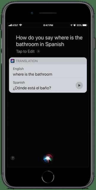 """iPhone Siri screenshot: how do you say """"where is the bathroom"""" in Spanish"""