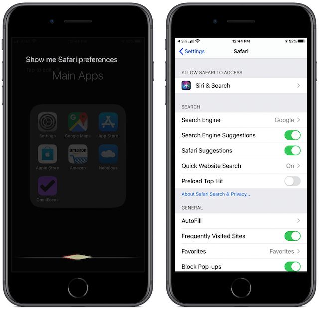 Screenshots showing how you can ask Siri to show Safari preferences