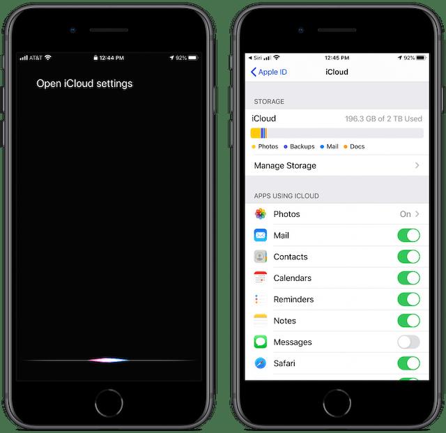 Screenshot showing how you can ask Siri to open iCloud settings.
