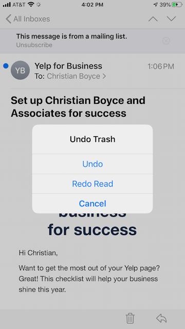 Shake to Undo box in iOS 13.