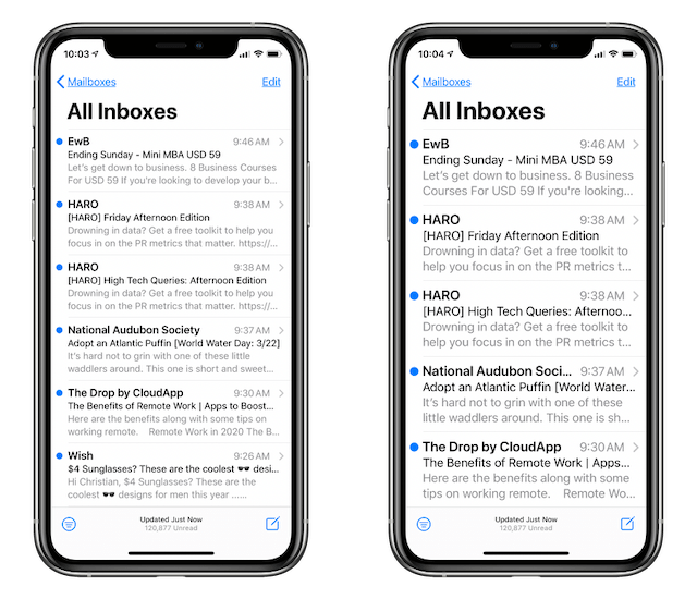 Mail app: default text size on the left, enlarged text size on the right