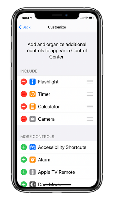 """Customizing the Control Center. Items in the """"Include"""" section appear at the bottom of the Control Center."""