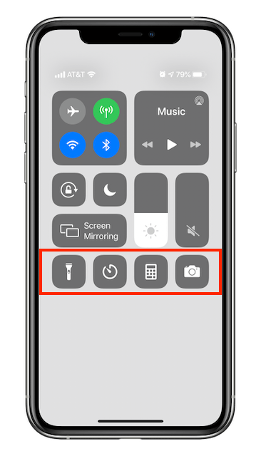 iPhone Control Center, with customizable area outlined in red