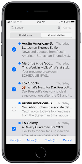 iOS Mail Search showing four message selected.