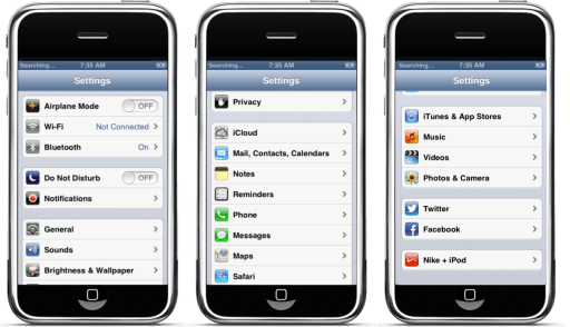 Original iPhone Settings screens.