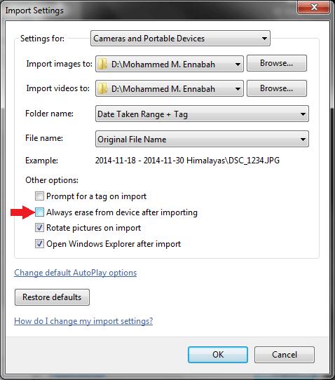 Importing option