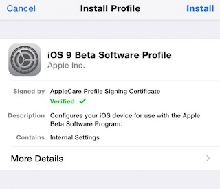iOS 9 Beta Profile