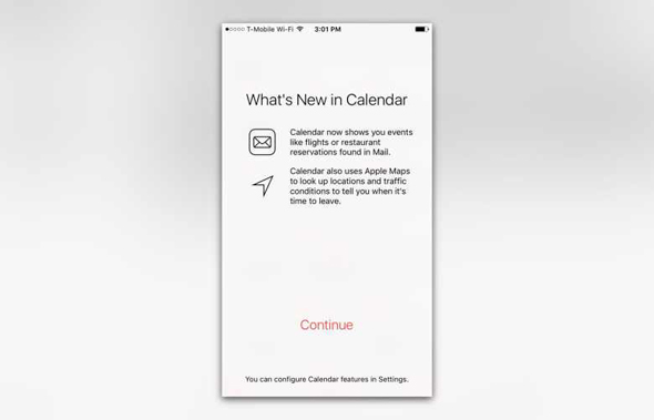 new calendar welcome screen iOS 9