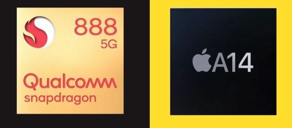 معالج A14 يتفوق على SD888 القادم لهواتف الأندرويد المستقبلية