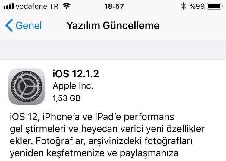 iOS 12.1.2 Yayınlandı