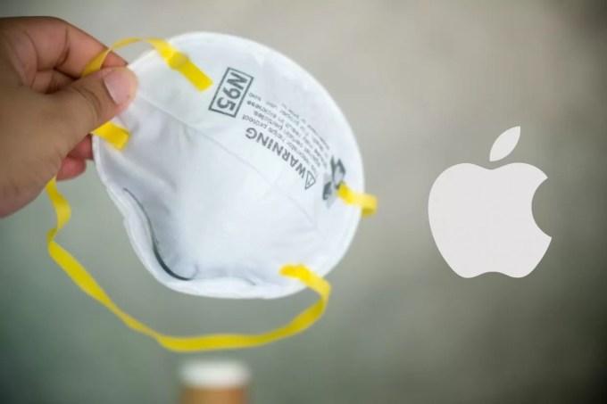 Респираторы N95 и логотип Apple