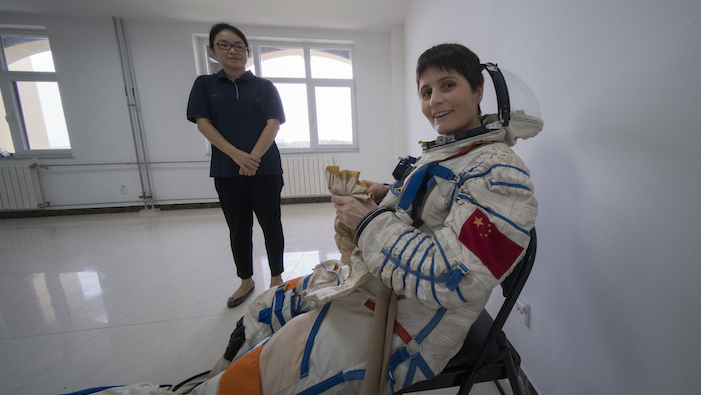 Image of astronaut Samantha Cristoforetti during training in China