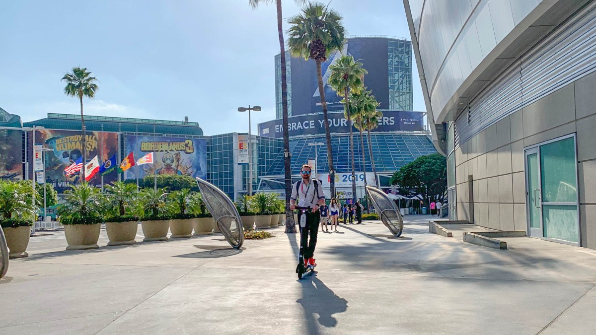 electric scooter outside of the Los Angeles Convention Center in June 2019