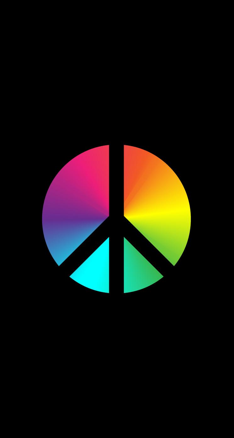 Wallpaper Design Black Peace Rainbow Gradient On Black Iphone Ringtones