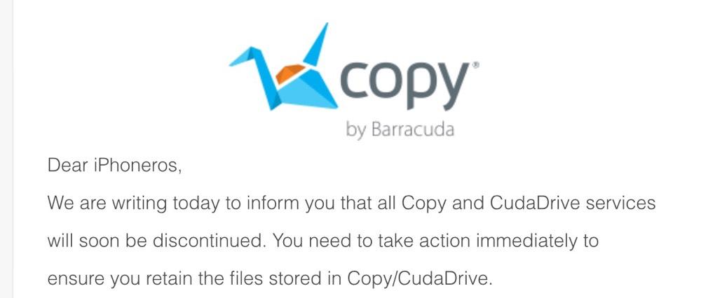 El servicio de almacenamiento en la nube Copy cierra sus