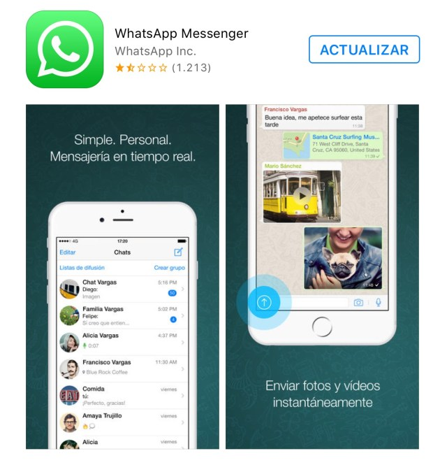 WhatsApp disponible para actualizar