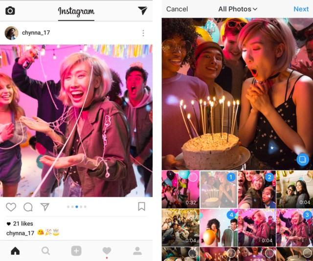 10 fotografías o vídeos en Instagram℗ al mismo tiempo