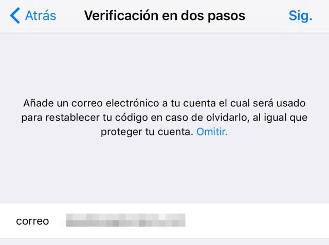 Verificación en dos pasos de WhatsApp