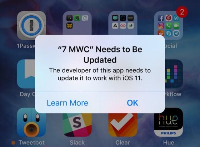 Aplicación que requiere ser actualizada para funcionar en iOS℗ 11