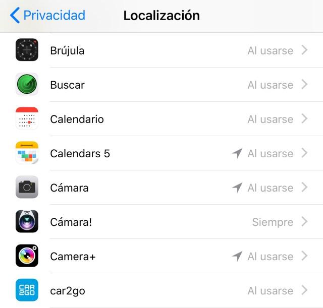 Qué Apps utilizan localización en 2.º plano